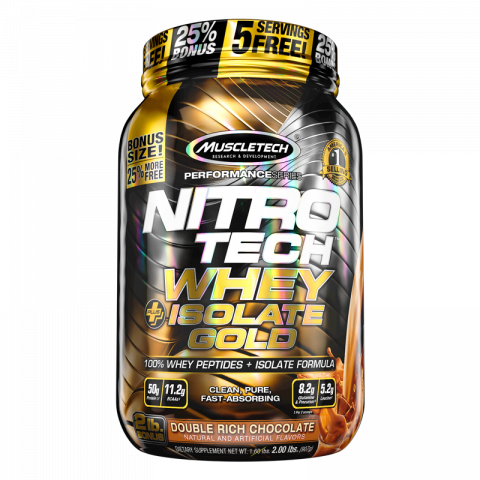 Nitro-Tech Whey Plus Isolate Gold - 2lbs - Double Rich Chocolate