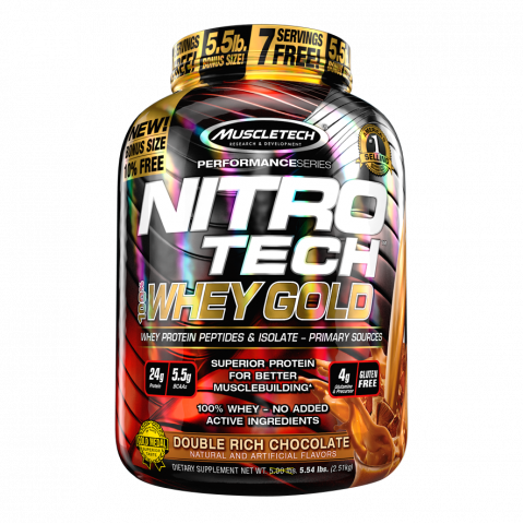 Nitro-Tech 100% Whey Gold - 5.53lbs - Double Rich Chocolate